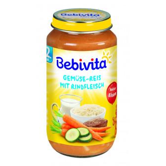 Пюре от зеленчуци, ориз и телешко месо, 1+ години, бурканче 250 гр. Bebivita 19650