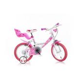 """Детско колело розово с помощни колела 16"""" Dino Bikes 20693"""