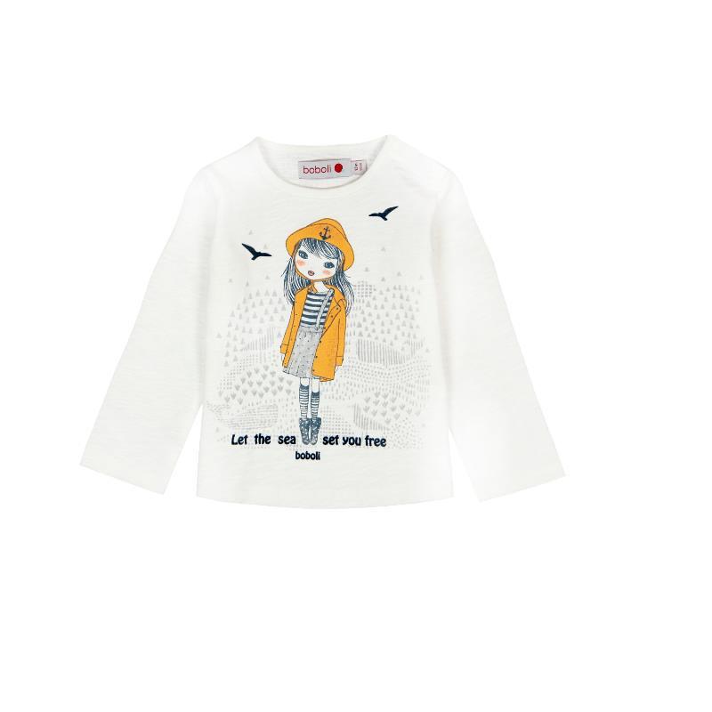 Памучна бяла блуза с дълъг ръкав за момиче  207