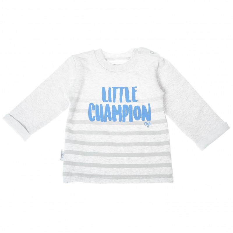 Памучна блуза с надпис Little Champion, сива  210929