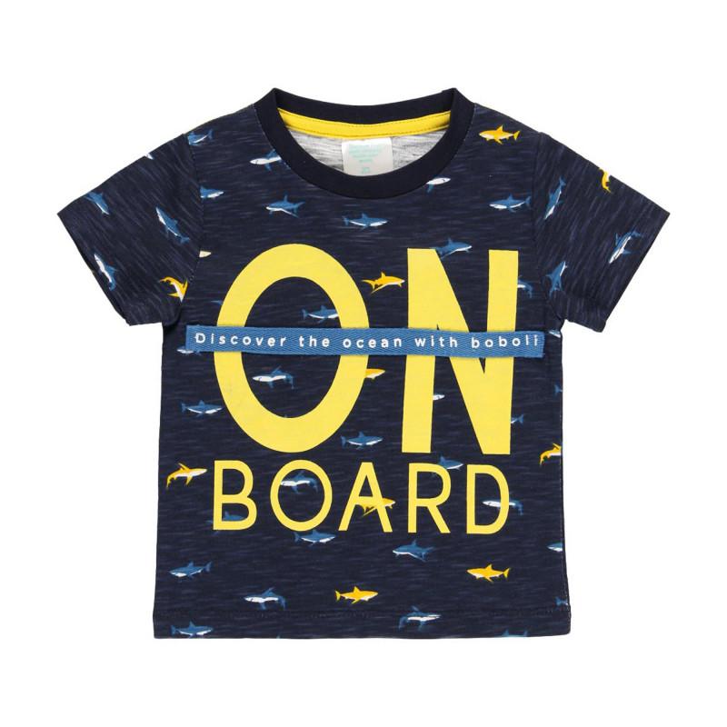 Памучна тениска с принт на акули, синя  219050