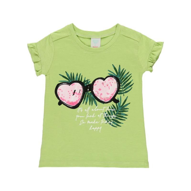 Памучна тениска с къдрички в края на ръкавите, зелена  219423