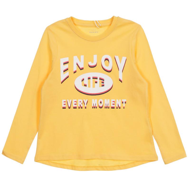 Блуза от органичен памук с графичен принт, жълта  219590