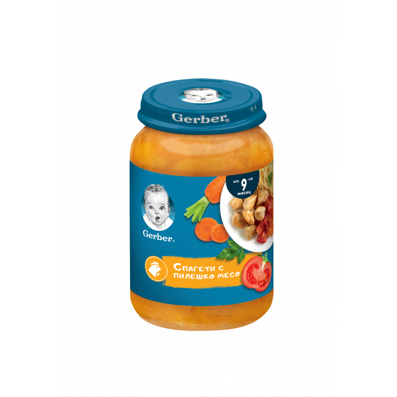 Пюре Спагети с пилешко месо Nestle Gerber, 9+ месеца, бурканче 190 гр.  219899