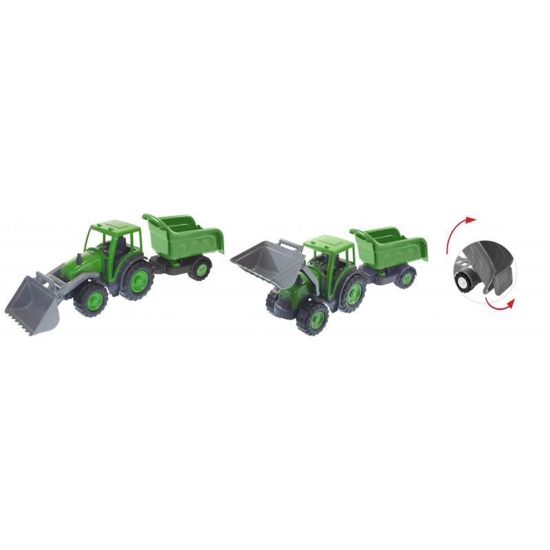 Булдозер с ремарке в сиво и зелено  2288