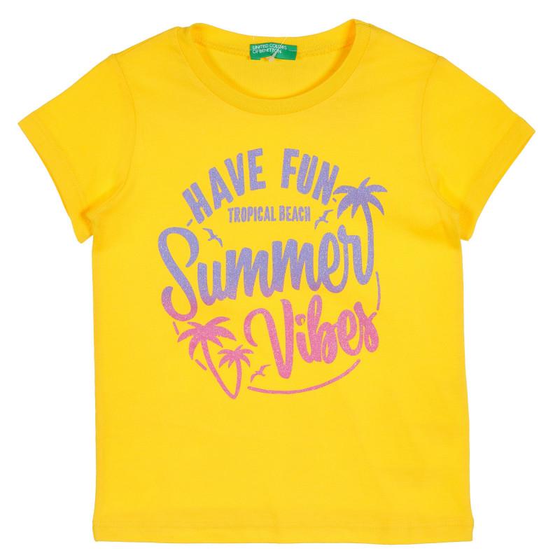 Памучна блуза с брокатена щампа за бебе, жълта  228819