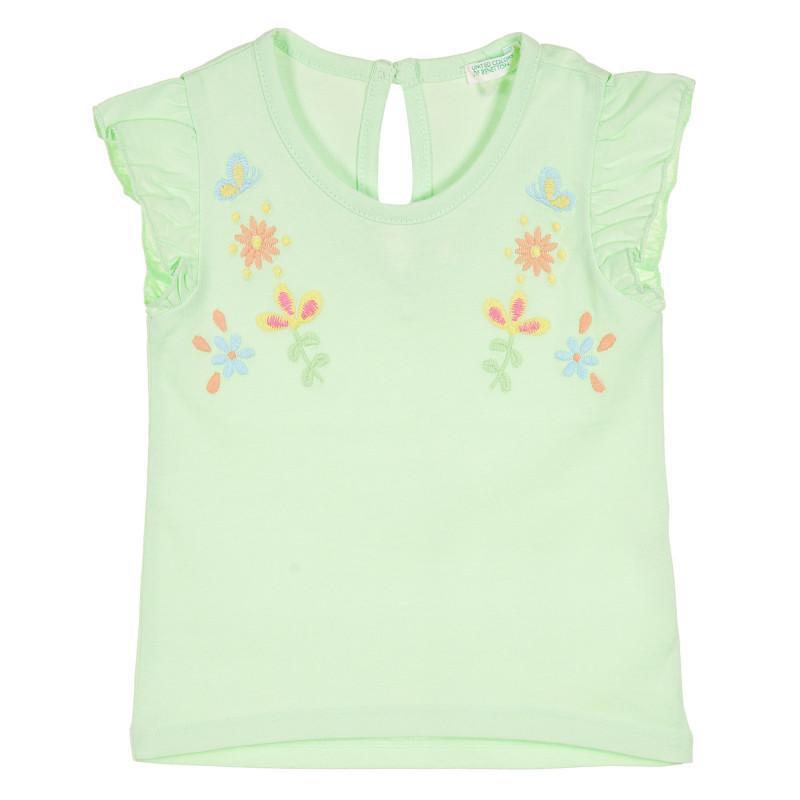 Памучна тениска с бродерия и къдрички за бебе, зелена  228825