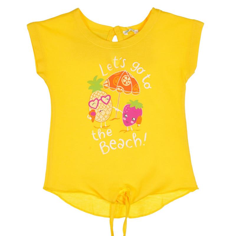 Памучна тениска с издължена задна част и принт за бебе, жълта  228837