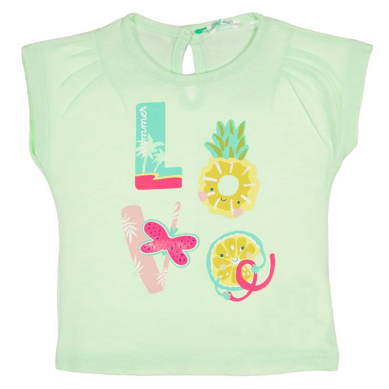 Памучна тениска с надпис Love за бебе, светло зелена  228841