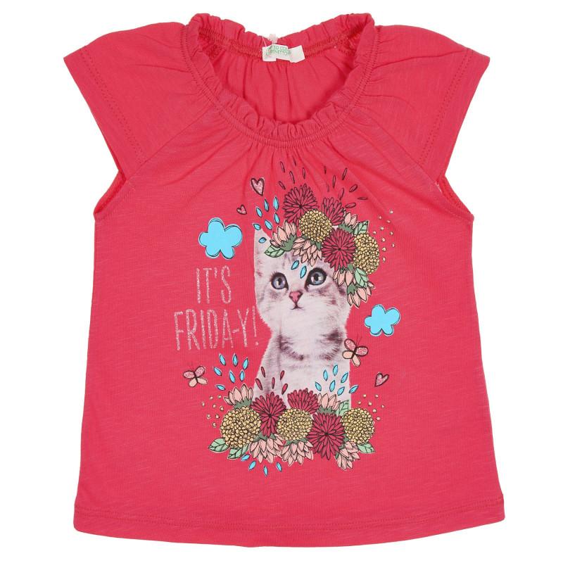 Памучна блуза с къс ръкав и графичен принт за бебе, червена  228888