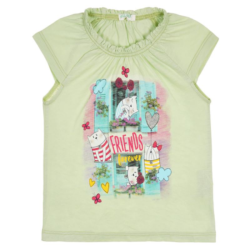 Памучна тениска с графичен принт за бебе, зелена  228892