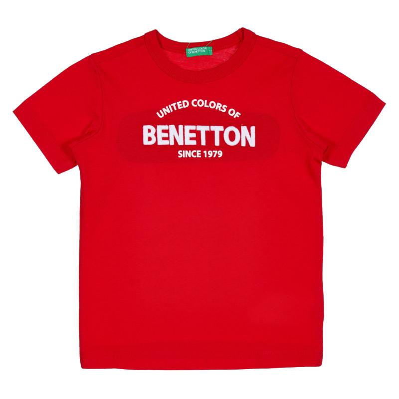 Памучна тениска с надпис на бранда за бебе, червена  229081