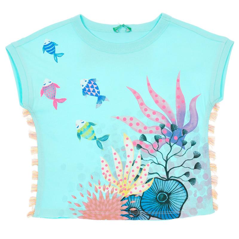 Памучна тениска с принт и ресни за бебе, светло синя  229197