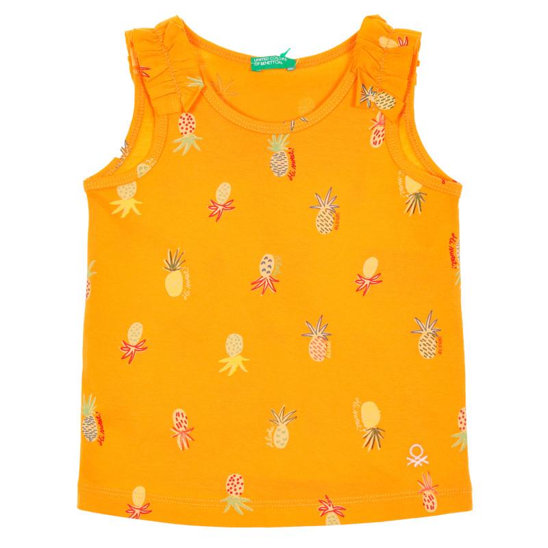Памучен потник с къдрици за бебе, оранжев  229299