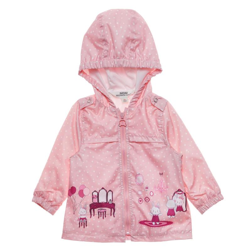 Яке на точки с апликация и торбичка за бебе, розово  230173