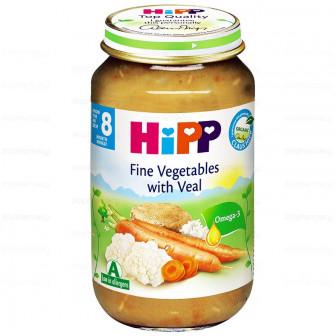 Био пюре от зеленчуци с телешко месо, 9+ месеца, бурканче 220 гр. Hipp 23048