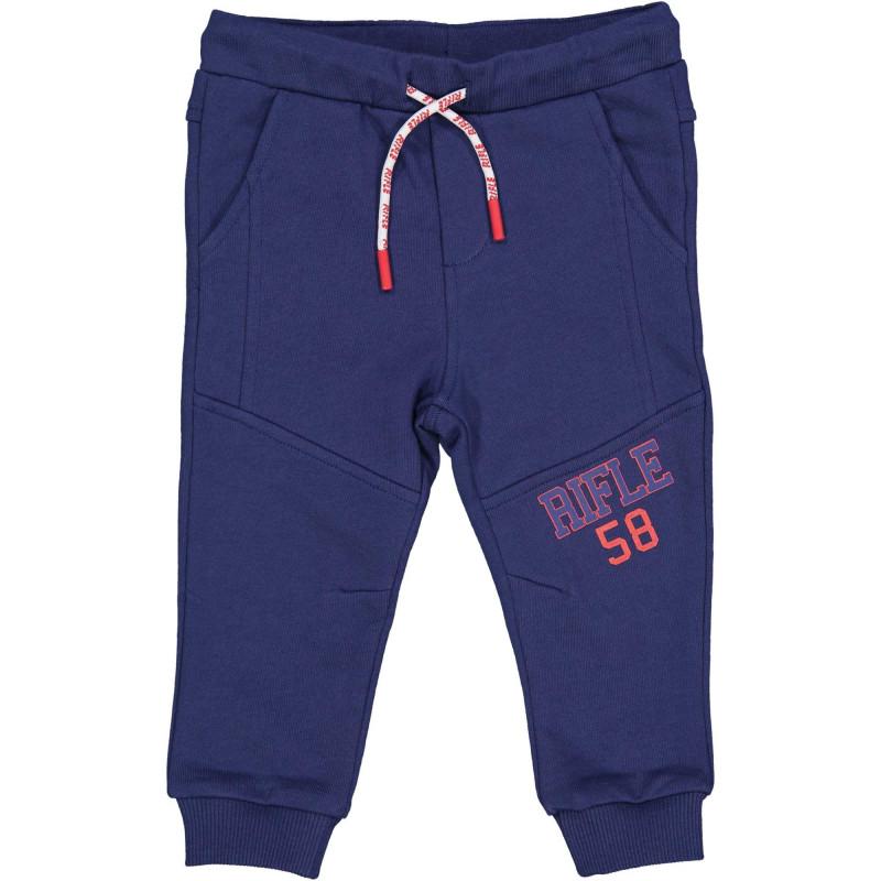 Памучен спортен панталон с логото на бранда за бебе, тъмно син  230887