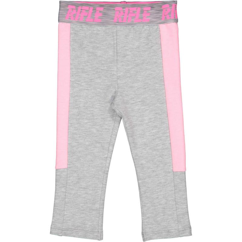Памучен спортен панталон с розови акценти за бебе, сив  230900