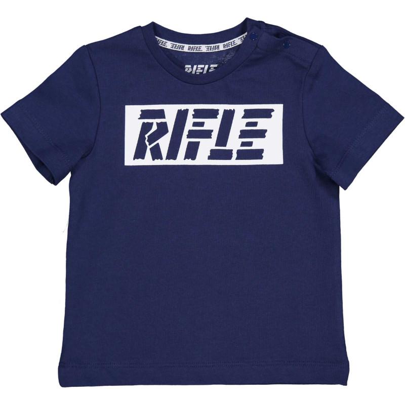 Памучна тениска с логото на бранда за бебе, тъмно синя  230932