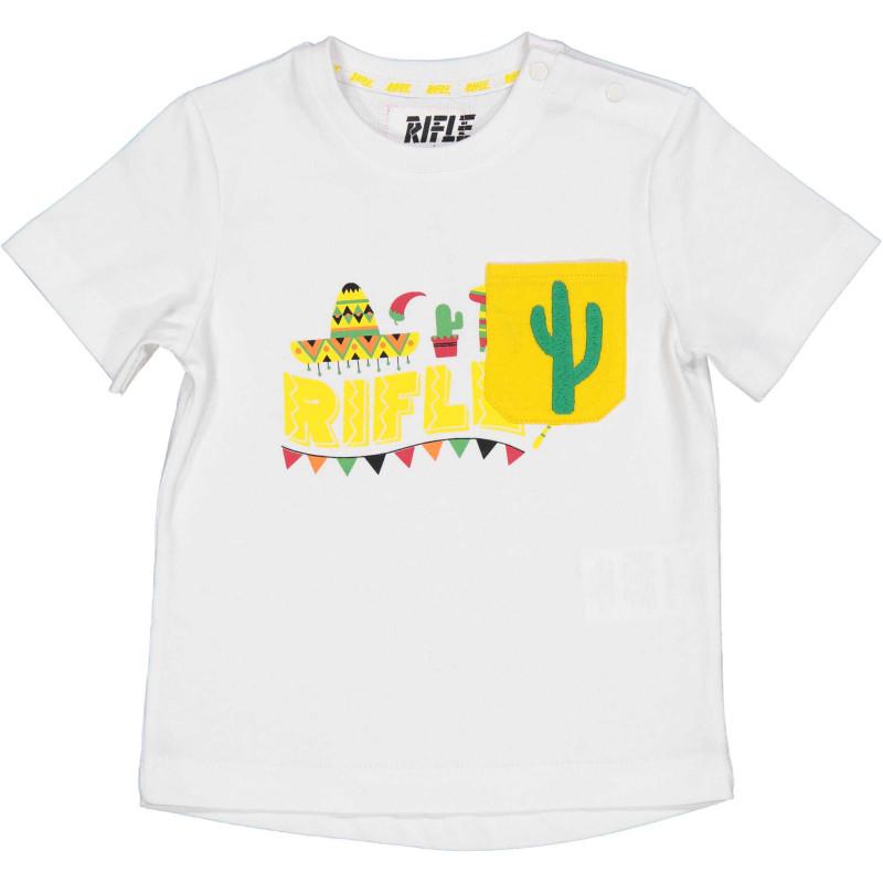 Памучна тениска с щампа и джоб за бебе, бяла  230938