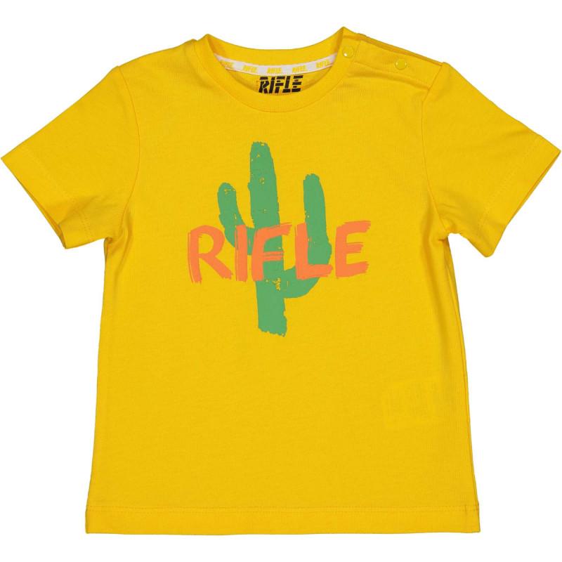 Памучна тениска с щампа на кактус за бебе, жълта  230940