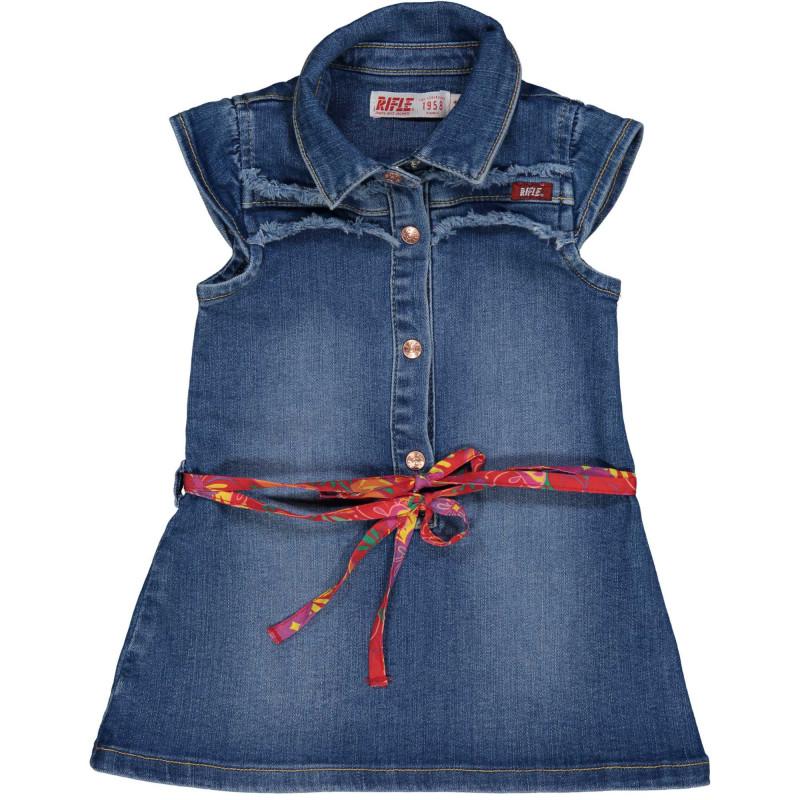 Дънкова туника без ръкави с коланче тип шал за бебе  230964