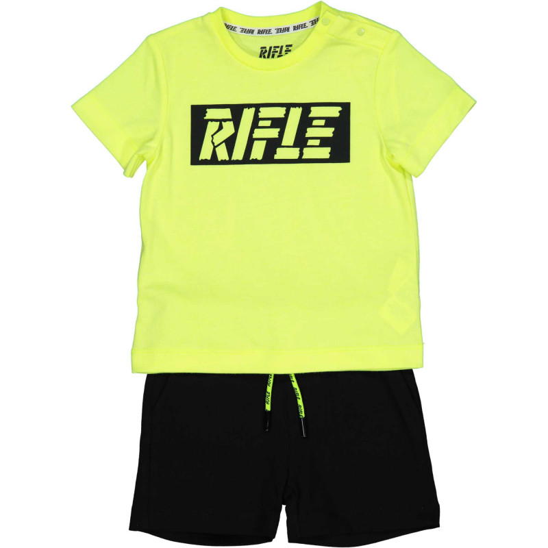 Памучен комплект тениска с къси панталони за бебе в зелено и черно  230993