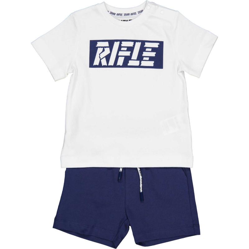Памучен комплект тениска с къси панталони за бебе в бяло и синьо  230995