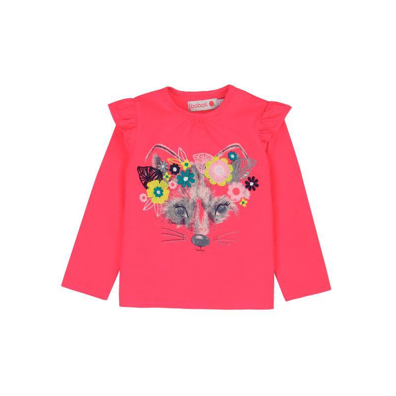 Памучна блуза с дълъг ръкав и къдрички на раменете  за момиче  231