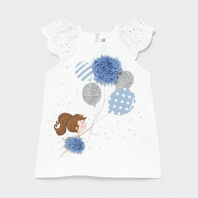Памучна рокля с дантелени ръкави и апликация за бебе  231298