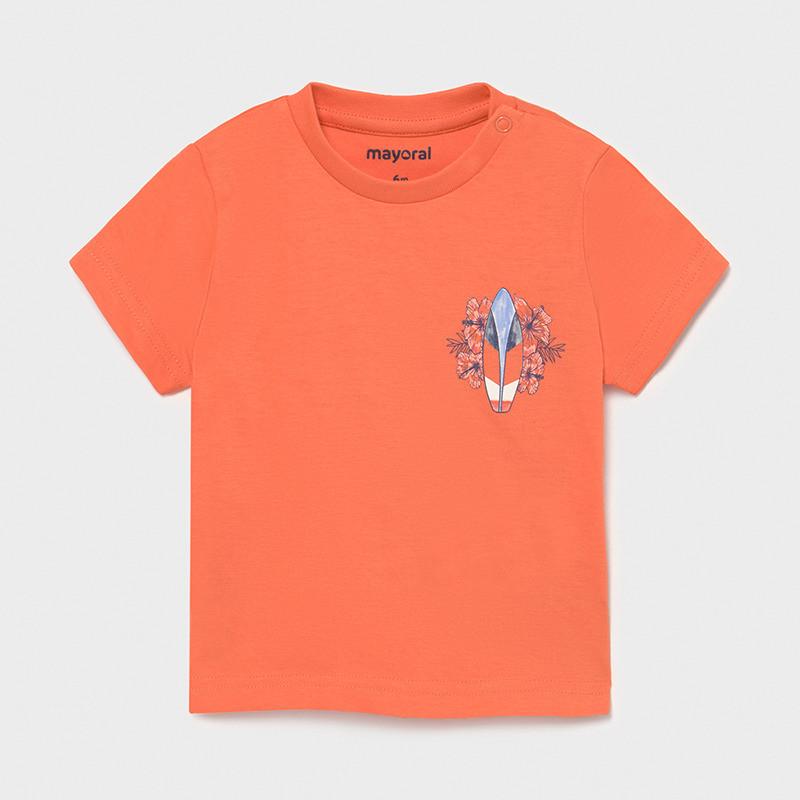 Памучна тениска с щампа за бебе, оранжева  231408
