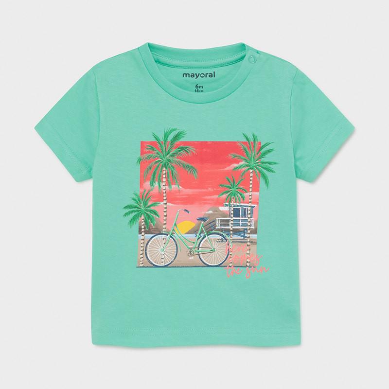 Памучна тениска с графичен принт за бебе в ментов цвят  231419