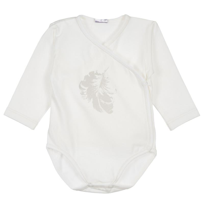 Памучно боди с дълъг ръкав и деликатен принт на сребристи пера за бебе момиче  234940