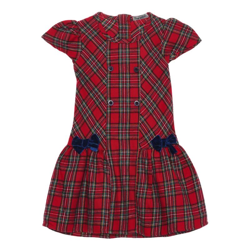 Карирана рокля с буфан ръкав  235568