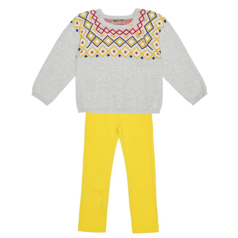 Комплект плетена блуза и панталони за момче  235572