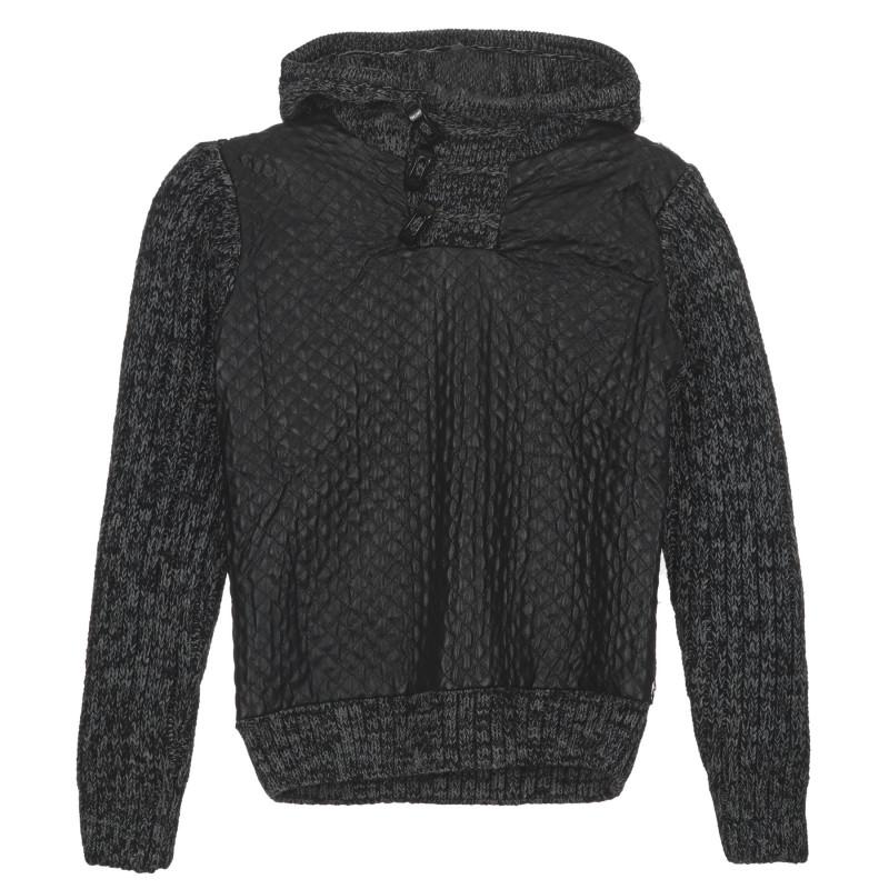 Пуловер за момче с качулка и  декоративни копчета, сив  236322