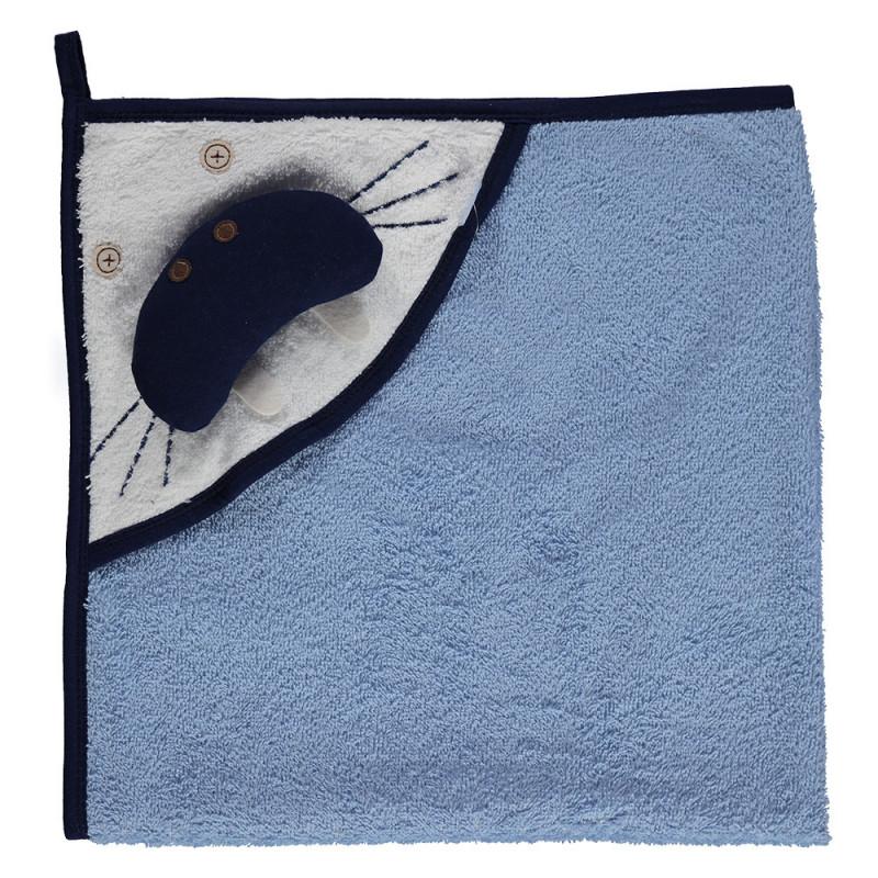 Памучна хавлия с качулка и дизайн на тюлен за бебе - унисекс  2379