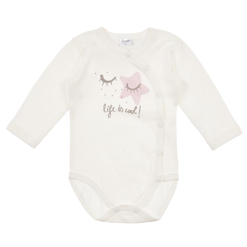 Памучно боди с дълъг ръкав за бебе и апликация звездичка  241262