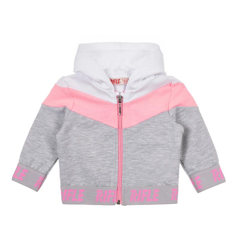 Памучен суитшърт с розово бели акценти за бебе, сив  241472