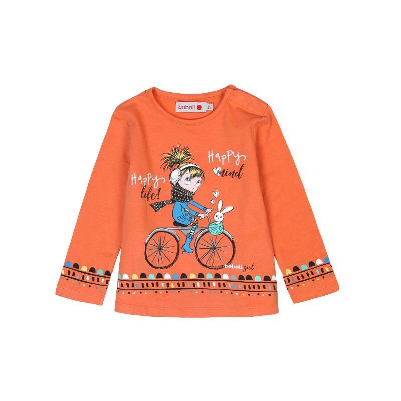 Памучна блуза с дълъг ръкав и щампа момиченце с колело за момичета  243
