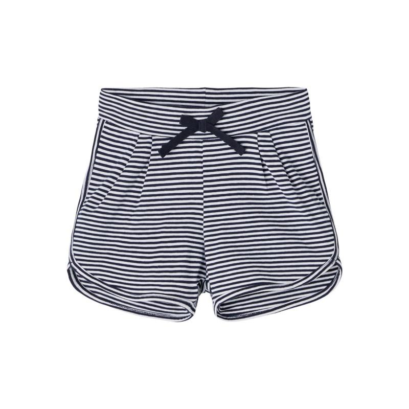 Къси панталони от органичен памук в бяло синьо райе  244402