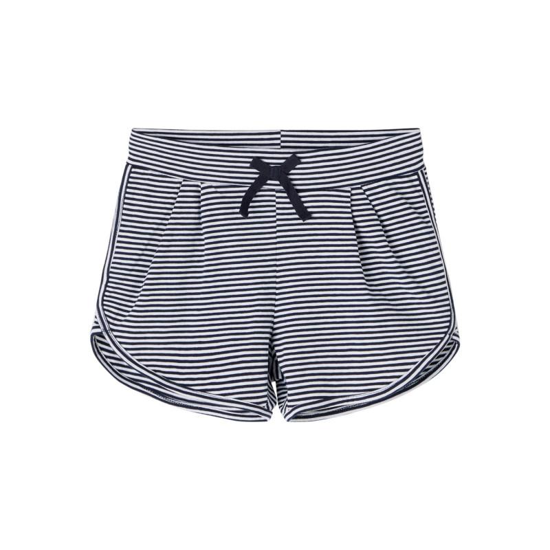 Къси панталони от органичен памук в бяло синьо райе  244427