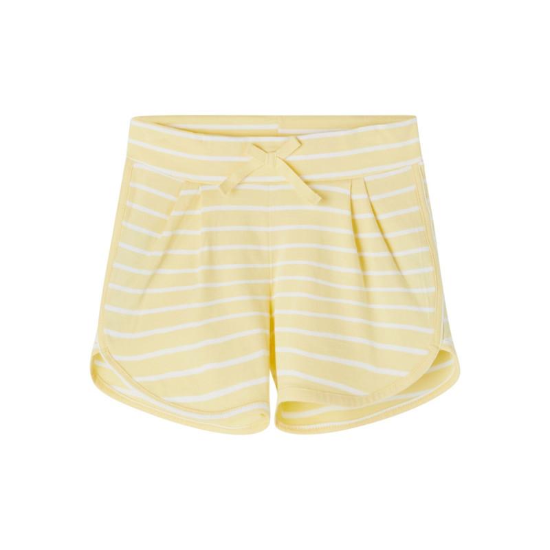 Къси панталони от органичен памук в бяло жълто райе  244430