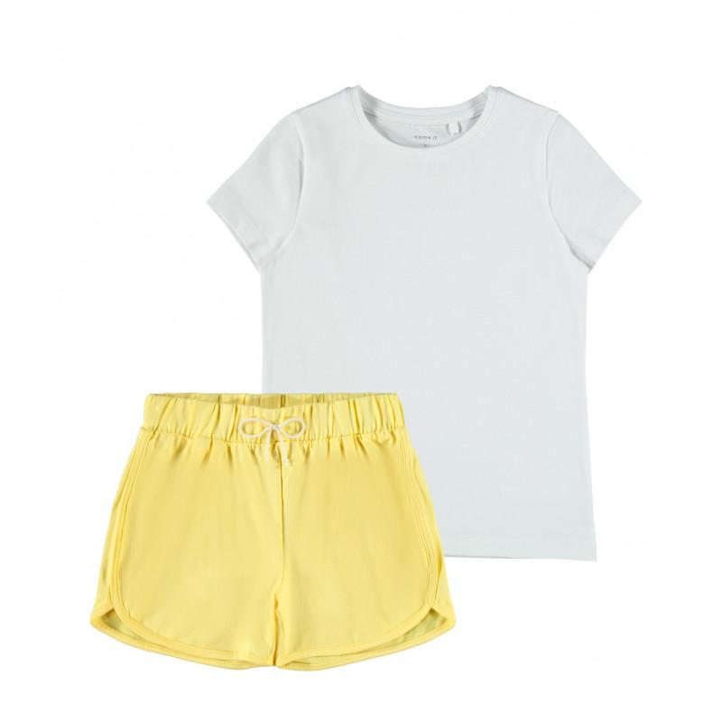 Комплект от органичен памук тениска и панталони, многоцветни  244435