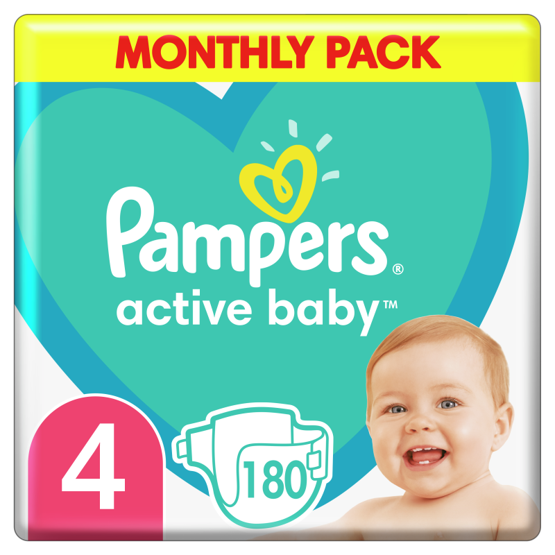 Пелени Active Baby Monthly Pack размер 4, 180 бр.  244512