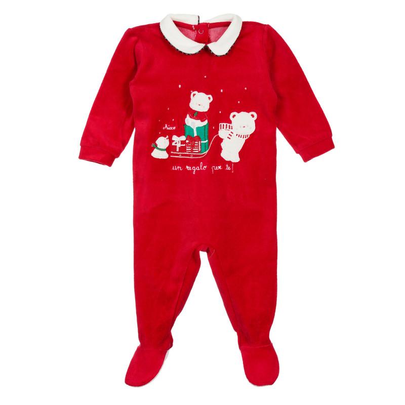 Коледен гащеризон за бебе, червен  244895