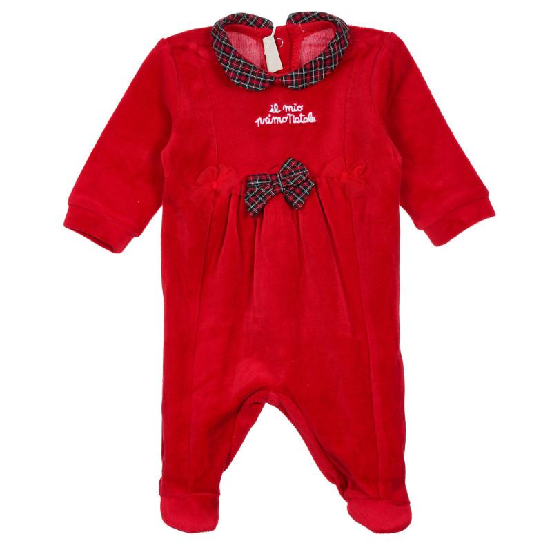 Плюшен гащеризон с панделка за бебе, червен  244902