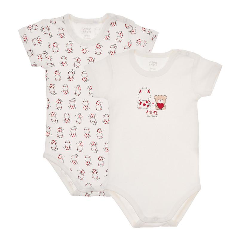 Комплект от два броя бодита с къс ръкав за бебе, бели  244935