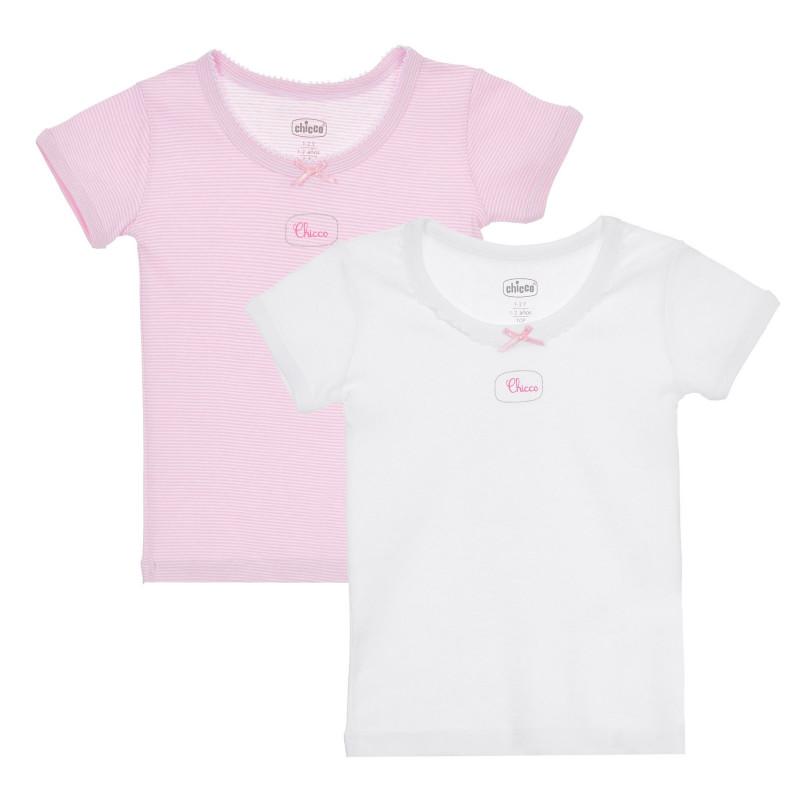 Памучен комплект от два броя тениски в бяло и розово  244949