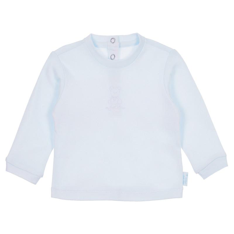 Памучна блуза с дълъг ръкав за бебе, синя  244966